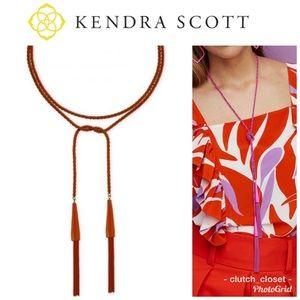 Kendra Scott Phara Lariat Goldstone Orange Necklac